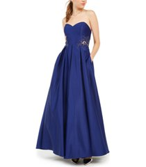 blondie nites juniors' strapless sweetheart applique gown