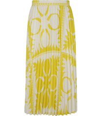 red valentino all-over print pleated skirt