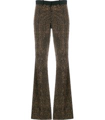 each x other crystal embellished flared trousers - black
