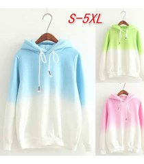 women fleece hoodies long sleeves gradient color cotton student pullover hoodies