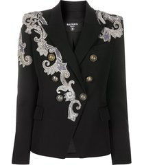 balmain lace-detailing double-breasted blazer - black