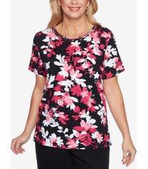 alfred dunner petite clean getaway shadow floral-print top