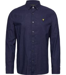 cotton linen shirt overhemd casual blauw lyle & scott