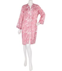 miss elaine woven short satin zipper robe