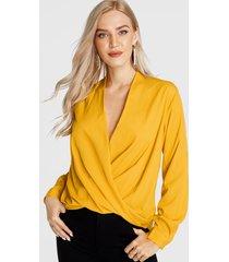 amarillo cruzado delantero diseño v cuello blusa manga larga