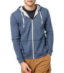 men's rails noah pinstripe french terry zip hoodie, size medium - blue