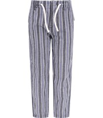 dondup blue, white and light blue striped boy pants with iconic d