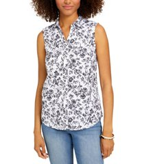 charter club petite floral-print sleeveless blouse, created for macy's