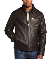 pronto uomo brown modern fit moto jacket