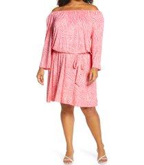 plus size women's michael michael kors zebra print off the shoulder long sleeve dress, size 3x - pink