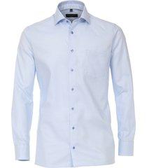 casamoda heren overhemd licht oxford zwarte knopen modern fit blauw