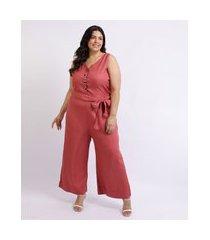 macacão feminino mindset plus size com faixa para amarrar na cintura decote v rosa escuro