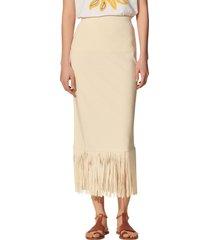 women's sandro melania fringe hem skirt, size 4 - beige