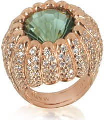 azhar designer rings, rose sterling silver riccio ring w/white cubic zirconia and green stone