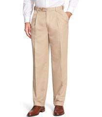 men's berle self sizer waist pleated classic fit dress pants, size 34 x unhemmed - beige