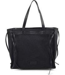 shopping bag com franjas laterais preto - preto/un