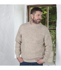 fisherman's crew neck sweater beige large