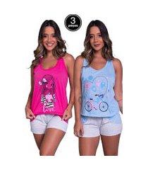 kit 3 pijama bella fiore modas short doll tal máe multicolorido