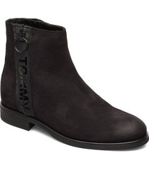 tommy jeans zip flat boot shoes boots ankle boots ankle boots flat heel svart tommy hilfiger