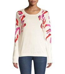 escada women's sequin embellished zebra-print sweater - off white - size xs