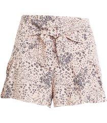 women's kirious tie waist floral shorts, size large - pink