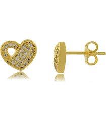 brinco coração entrelaçado com mini zircônias cravejadas 3rs semijoias dourado