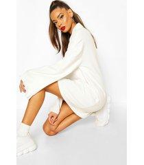 zip ruffle extreme sleeve sweatshirt dress, ecru