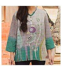 cotton batik tunic, 'purple bird' (thailand)