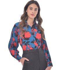 blusa para mujer en chiffon crepe multicolor color-multicolor-talla-l