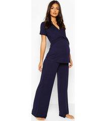 zwangerschap borstvoeding wikkel top en broek pyjama set, marineblauw