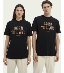 scotch & soda born to love unisex graphic organic cotton t-shirt