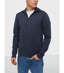 premium by jack & jones jprblufelix knit half zip tröjor mörk blå