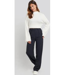 na-kd classic flared striped pants - navy