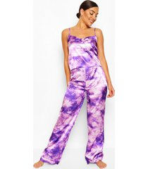 tie dye satin cami and trouser pyjama set, purple