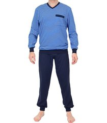 schiesser pyjama blue streep met boord