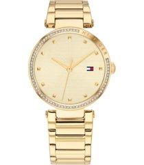 tommy hilfiger women's gold-tone stainless steel bracelet watch 32mm