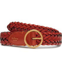 women's mulberry braided leather belt, size large - rust