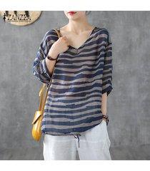 zanzea s-5xl ocasional de las mujeres con cuello en v raya blusa suelta de la vendimia de gran tamaño de tapas de la camisa más el tamaño -azul marino