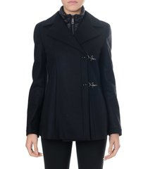 fay black wool and cashmere double breast coat
