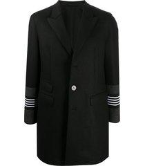 neil barrett striped cuffs single-breasted coat - black