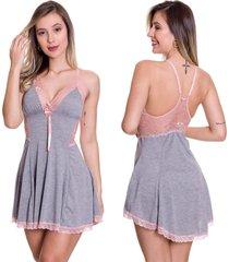 camisola etilo sedutor em viscolycra e renda cinza com rosa - es209