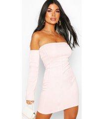 petite off shoulder bodycon dress, light pink