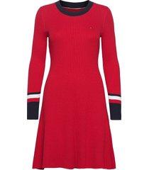 th warm c-nk fit & flare dress korte jurk rood tommy hilfiger