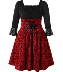 plus size square neck print vintage lace up dress