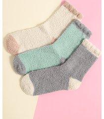 1 par de calcetines de franela con patchwork