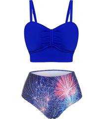 fireworks print bow tankini swimwear