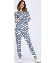 pijama feminino estampado de nuvens manga longa azul