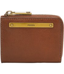 fossil women's liza mini leather zip wallet