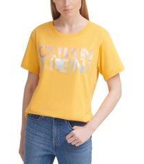 calvin klein jeans cotton distressed foil logo t-shirt