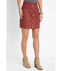 maurices womens suede button down high rise skirt red